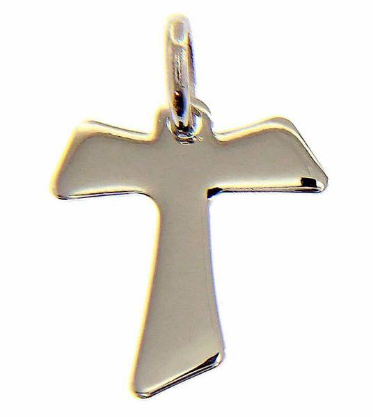 Immagine di Croce Tau di San Francesco Ciondolo Pendente gr 0,95 Oro bianco 18kt lastra stampata a rilievo Unisex Donna Uomo