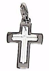 Immagine di Croce tripla latina Ciondolo Pendente gr 3,6 Oro bianco massiccio 18kt Unisex Donna Uomo