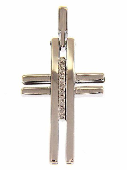 Imagen de Cruz design lisa con inserto y puntos de luz Colgante gr 2,7 Oro blanco macizo 18kt con Zircones Unisex Mujer Hombre