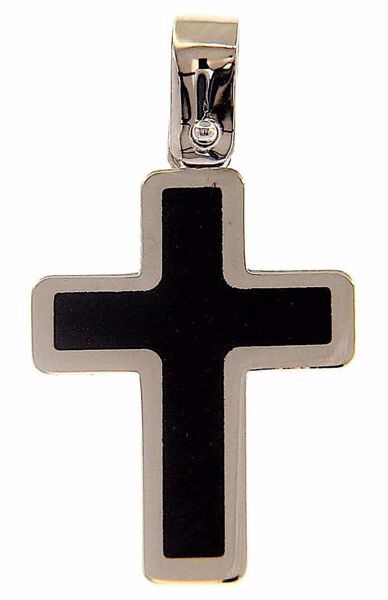 Picture of Black Cross Fashion Pendant gr 1,5 White Gold 18k with Onyx Unisex Woman Man