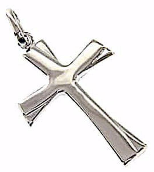 Immagine di Croce a rilievo moderna Ciondolo Pendente gr 1,15 Oro bianco 18kt a Canna vuota Unisex Donna Uomo