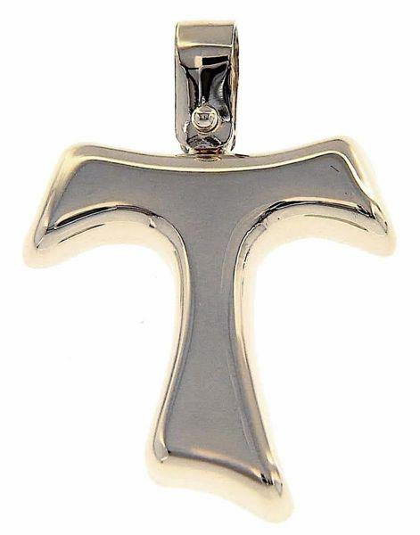 Immagine di Croce Tau di San Francesco bombata Ciondolo Pendente gr 1,7 Oro bianco 18kt a Canna vuota Unisex Donna Uomo