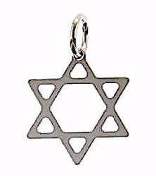 Picture of 6-pointed Star of David Shield Pendant gr 0,75 White Gold 18k Unisex Woman Man