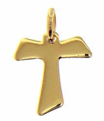 Immagine di Croce Tau di San Francesco Ciondolo Pendente gr 1,05 Oro giallo 18kt lastra stampata a rilievo Unisex Donna Uomo