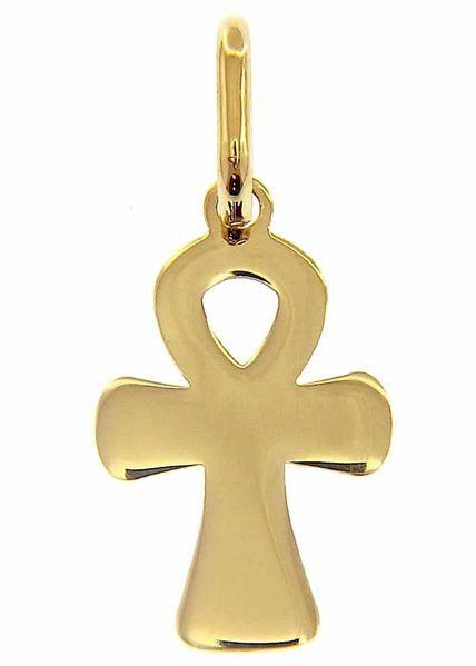 Immagine di Chiave della Vita Ankh Croce Copta Ansata Ciondolo Pendente gr 0,7 Oro giallo 18kt lastra stampata a rilievo Unisex Donna Uomo