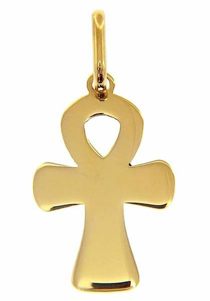 Picture of Cross of Life Ankh Crux Ansata Pendant gr 0,9 Yellow Gold 18k relief printed plate Unisex Woman Man