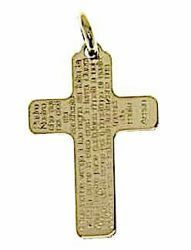 Picture of Cross with prayer Padre Nostro Pendant gr 1 Yellow Gold 18k relief printed plate Unisex Woman Man