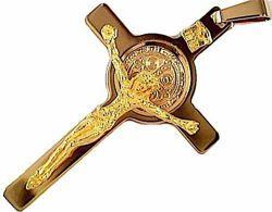 Immagine di Croce di San Benedetto con INRI Ciondolo Pendente gr 9,1 Oro giallo massiccio 18kt Unisex Donna Uomo