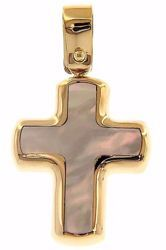 Immagine di Croce Ciondolo Pendente Moda gr 1,5 Oro giallo 18kt con Madreperla bianca Unisex Donna Uomo