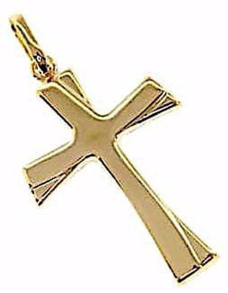 Immagine di Croce a rilievo moderna Ciondolo Pendente gr 1,15 Oro giallo 18kt a Canna vuota Unisex Donna Uomo