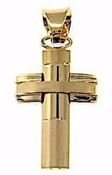 Immagine di Croce bombata a colonna Ciondolo Pendente gr 2,3 Oro giallo 18kt a Canna vuota Unisex Donna Uomo