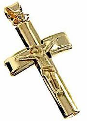 Picture of Convex column Cross with Body of Christ Pendant gr 4 Yellow Gold 18k Hollow Tube Unisex Woman Man