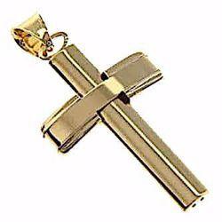Immagine di Croce bombata a colonna Ciondolo Pendente gr 3,3 Oro giallo 18kt a Canna vuota Unisex Donna Uomo
