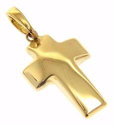 Immagine di Croce bombata Ciondolo Pendente gr 1,4 Oro giallo 18kt a Canna vuota Unisex Donna Uomo