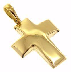 Immagine di Croce bombata Ciondolo Pendente gr 2 Oro giallo 18kt a Canna vuota Unisex Donna Uomo