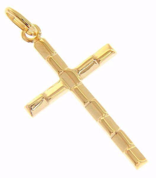 Immagine di Croce sezione triangolare Ciondolo Pendente gr 1,05 Oro giallo 18kt a Canna vuota Unisex Donna Uomo