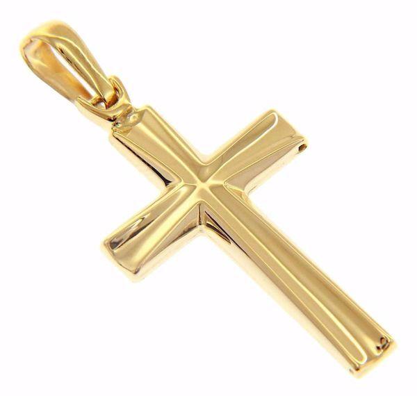 Immagine di Croce dritta concava Ciondolo Pendente gr 2,6 Oro giallo 18kt a Canna vuota Unisex Donna Uomo