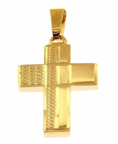 Immagine di Croce moderna squadrata lavorata Ciondolo Pendente gr 2,1 Oro giallo 18kt a Canna vuota Unisex Donna Uomo