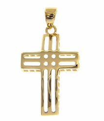 Immagine di Croce design dritta traforata Ciondolo Pendente gr 1,35 Oro giallo 18kt a Canna vuota Unisex Donna Uomo