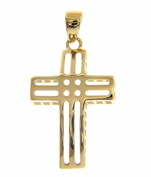 Picture of Modern Design perforated Cross Pendant gr 1,35 Yellow Gold 18k Hollow Tube Unisex Woman Man