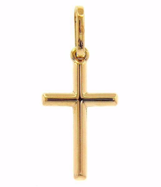 Imagen de Cruz recta grabada Colgante gr 0,5 Oro amarillo 18kt Tubo hueco Unisex Mujer Hombre