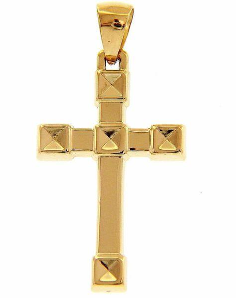 Immagine di Croce dritta squadrata diamantata Ciondolo Pendente gr 1,75 Oro giallo 18kt a Canna vuota Unisex Donna Uomo