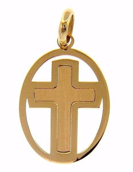 Picture of Perforated Double Cross Oval Pendant gr 1 Yellow Gold 18k Hollow Tube Unisex Woman Man