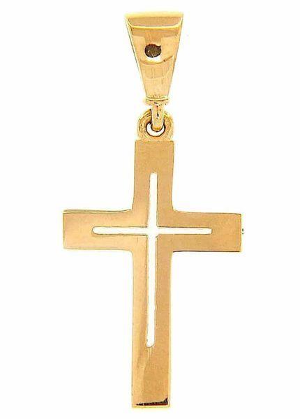 Imagen de Cruz doble recta perforada Colgante gr 0,85 Oro amarillo 18kt Tubo hueco Unisex Mujer Hombre