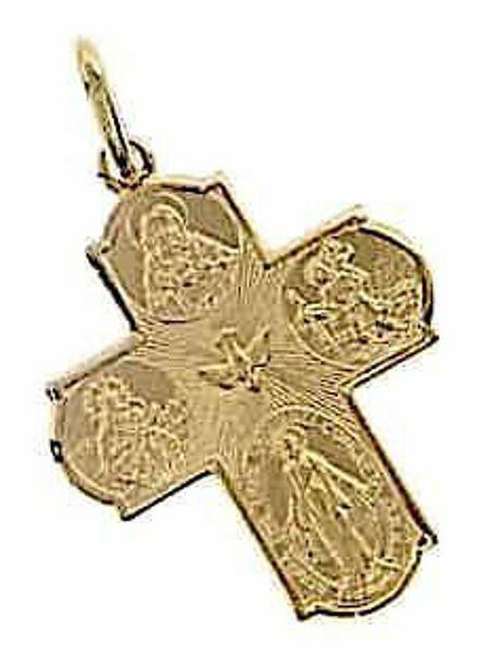 Immagine di Croce Scapolare Madonna Miracolosa, Beata Vergine del Carmelo, Sacro Cuore di Gesù, San Cristoforo, Spirito Santo Ciondolo Pendente gr 3,1 Oro giallo 18kt Unisex Donna Uomo