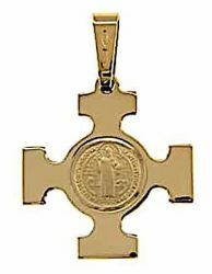 Picture of Square Cross with Medal of St. Benedict on the Rock Pendant gr 3,5 Yellow solid Gold 18k Unisex Woman Man