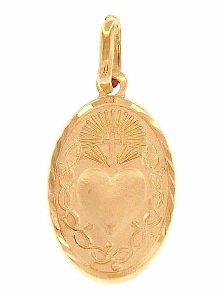 Picture of Sacred Heart of Jesus and crown of Thornes with carved Edge Fashion Oval Pendant gr 1,8 Yellow Gold 18k Unisex Woman Man