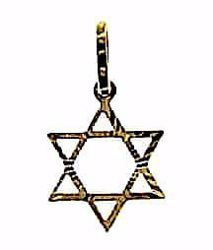 Imagen de Escudo Estrella de David de 6 puntas perforada Colgante gr 0,65 Oro amarillo 18kt Unisex Mujer Hombre