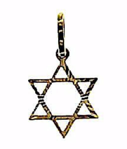 Picture of 6-pointed perforated Star of David Shield Pendant gr 0,65 Yellow Gold 18k Unisex Woman Man