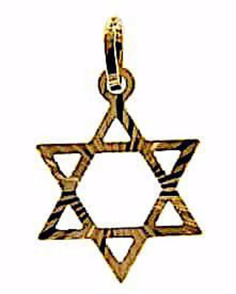 Picture of 6-pointed perforated Star of David Shield Pendant gr 1,15 Yellow Gold 18k Unisex Woman Man