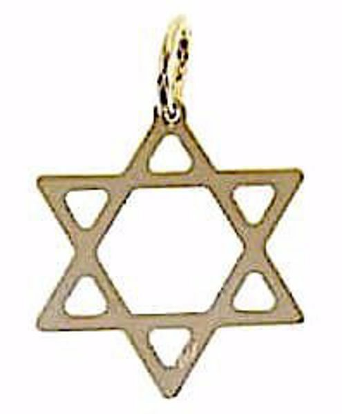 Picture of 6-pointed Star of David Shield Pendant gr 0,75 Yellow Gold 18k Unisex Woman Man