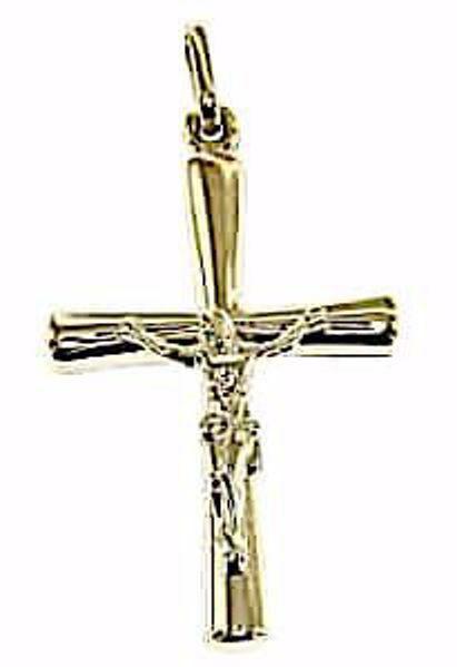 Immagine di Croce stondata con corpo di Cristo Ciondolo Pendente gr 0,75 Oro giallo 9kt Unisex Donna Uomo