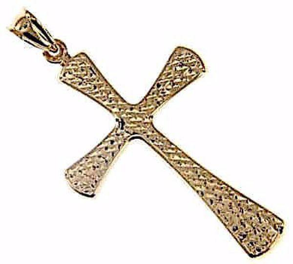 Imagen de Cruz redondeada martillada Colgante gr 1,7 Oro amarillo 9kt Unisex Mujer Hombre