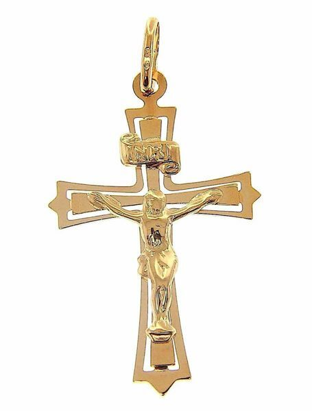 Picture of 12-pointed traforated Cross with Body of Christ and INRI Pendant gr 1,35 Yellow Gold 9k Unisex Woman Man