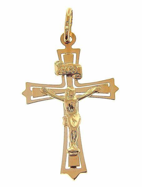 Immagine di Croce 12 punte con corpo di Cristo e INRI traforata Ciondolo Pendente gr 1,35 Oro giallo 9kt Unisex Donna Uomo