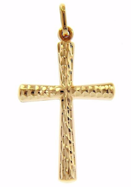 Picture of Diamond Flared Cross Pendant gr 0,55 Yellow Gold 9k Unisex Woman Man