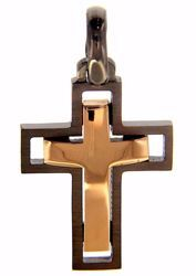 Picture of Double Cross Fashion Pendant gr 2,9 Black Gold 18k Unisex Woman Man