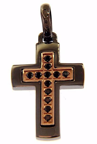 Picture of Double Cross Fashion Pendant gr 3,5 Black Gold 18k Unisex Woman Man