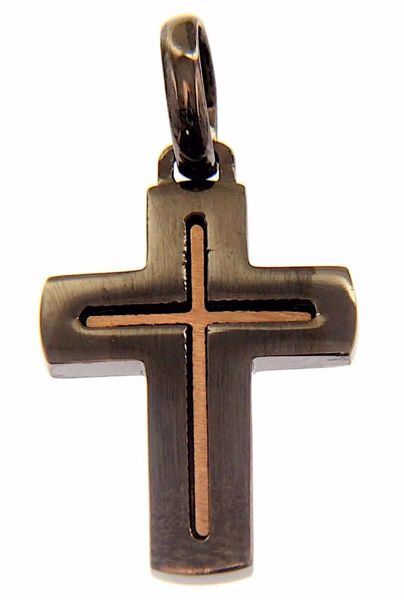 Picture of Double rounded Cross Fashion Pendant gr 3,1 Black Gold 18k Unisex Woman Man