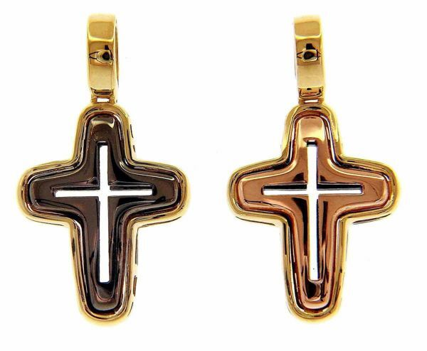 Picture of Tricolor Cross Black Rhodium, Pink Gold and Yellow Gold Pendant gr 4 Black Gold 18k Hollow Tube Unisex Woman Man