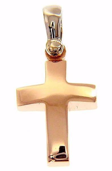 Picture of Convex Straight Cross Pendant gr 2,2 Rose solid Gold 18k Hollow Tube Unisex Woman Man