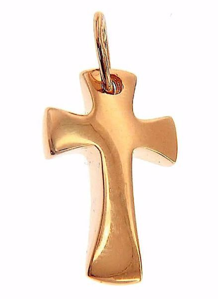 Imagen de Cruz abombada pequeña Colgante gr 1,4 Oro rosa macizo 18kt Unisex Mujer Hombre