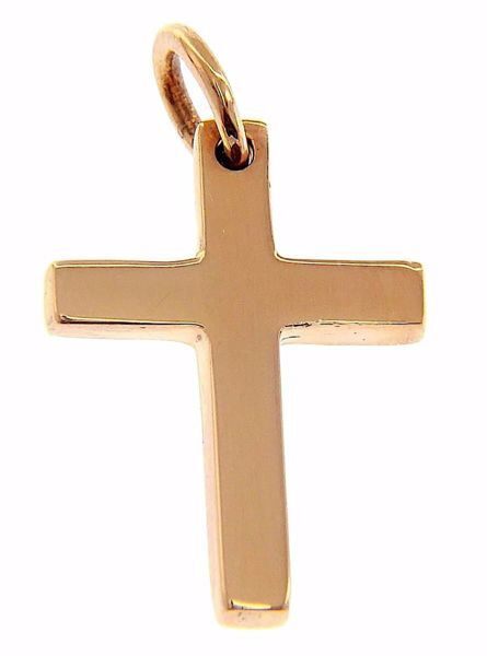 Picture of Smooth Straight Cross Pendant gr 2,7 Rose solid Gold 18k Unisex Woman Man