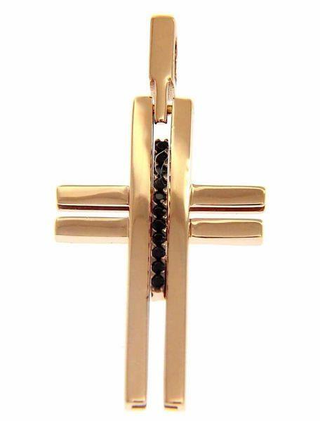 Immagine di Croce design liscia con inserto e punti luce Ciondolo Pendente gr 2,7 Oro rosa massiccio 18kt con Zirconi Unisex Donna Uomo