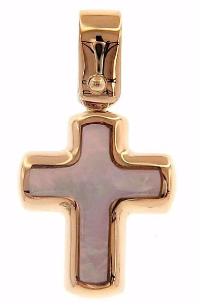 Picture of Smooth convex Cross Fashion Pendant gr 0,9 Rose Gold 18k with Mother of Pearl Unisex Woman Man
