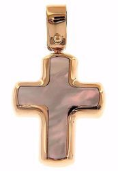 Picture of Cross Fashion Pendant gr 1,5 Rose Gold 18k with white Mother of Pearl Unisex Woman Man